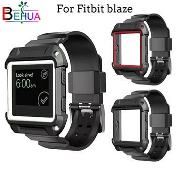 2in1 Silicone Strap + Case Cover frame watchbands for Fitbit Blaze smart watch band Sports outdoor Strap Replacement watchband crested for fitbit blaze frame replacement stainless steel case activity tracker smart watch accessories