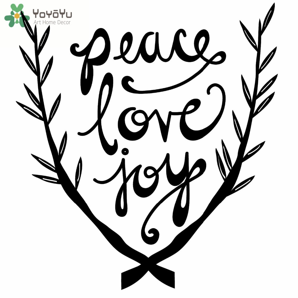 Peace Love Joy Quotes Branches Pattern Wall Decal Quotes Peace Love Joy Vinyl Wall