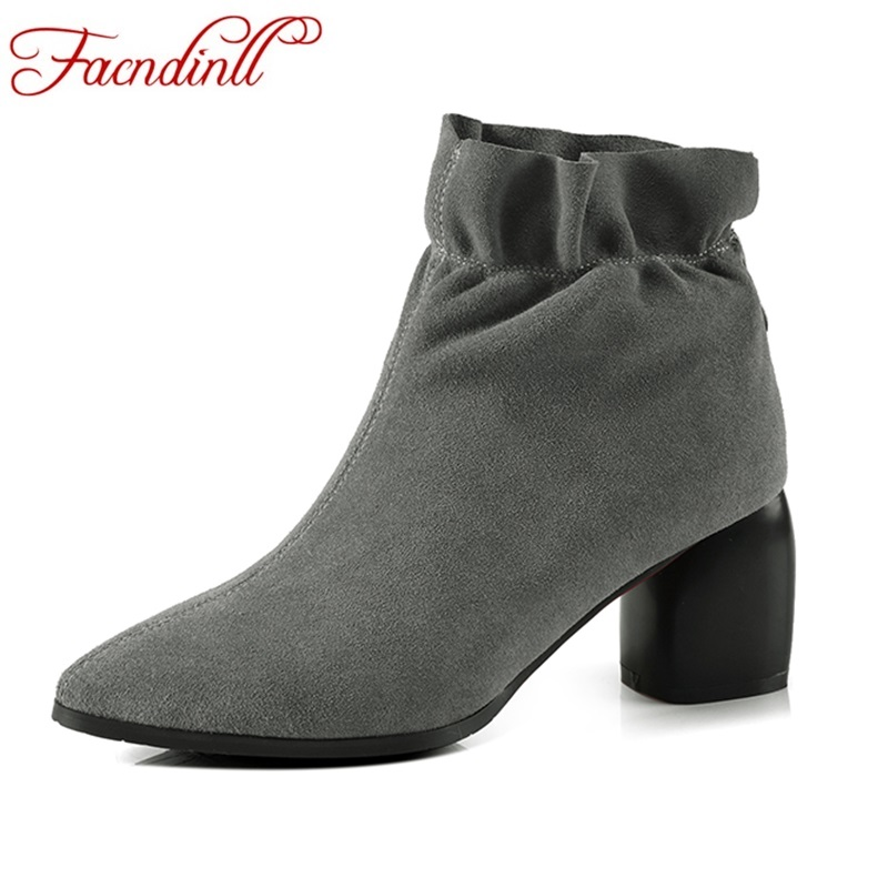 FACNDINLL women boots new 2018 fashion genuine leather autumn winter shoes woman ankle boots sexy high heels zipper riding boots facndinll new sexy thin high heels peep toe women summer boots red dancing shoes woman summer autumn patent leather riding boots