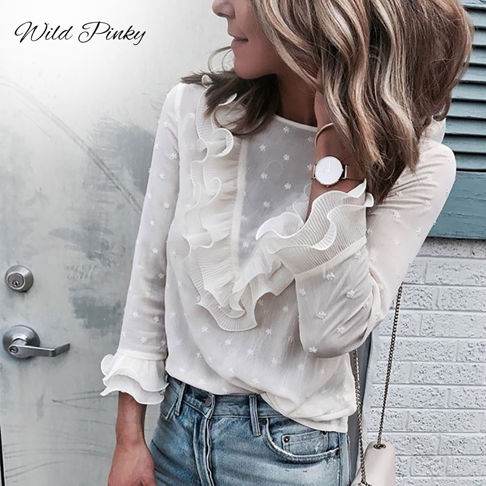 WildPinky 2019 Chiffon Womens Blouse Ladies Ruffle Frill Shirt Long Sleeve Perspectived Casual High Street Top