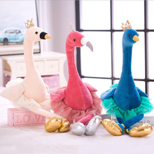 New Creative Ballet Swan Flamingo Peacock Plush Toy Stuffed Animal Doll Toys Girls Birthday Gift Valentines Day Gifts