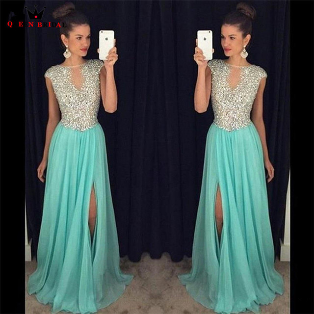 Custom Size A-line Slit Leg Crystal Beaded Sequins Chiffon Sexy Luxury Long Formal Evening Gowns New Vestido De Festa LE03