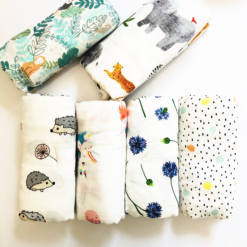 2019 Muslin blankets baby muslin blanket swaddle bamboo cotton Newborn Baby Bath Towel Swaddle Blankets MultiFunctions