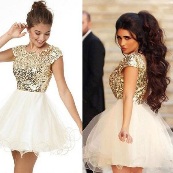 41fe315eba Cheap Mini Cocktails Dresses Short Boss Gold Sequins Lace Lotus Ball Gatess Party  Dress Summer Pretty Dresses Plus Size Custom-in Cocktail Dresses from ...