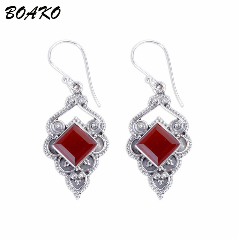 BOAKO Thai Silver Dangle Drop Earrings For Women Boho Statement Earrings Red Natural Stone S925 Long Dangling Earring pendientes in Drop Earrings from Jewelry Accessories
