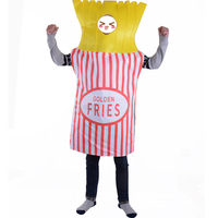 Food Fun Fancy Dress Golden Fries Potato Chips French Fries Mascot Outfit Halloween Party Costume Adult