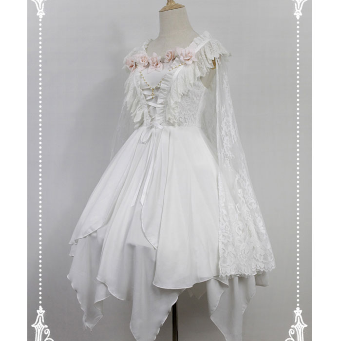 Asymmetrical Gothic Lolita Dress The Ballet Spirit Short JSK Dress with Lace Cape by Soufflesong Clearance