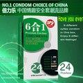 6 Tipos En 24 PS Granulado Rosca g-spot Estimular Condones de Látex Natural, Juguete Del Sexo para Los Hombres, anticonceptivos Sexo Productos2 2boxes/lot