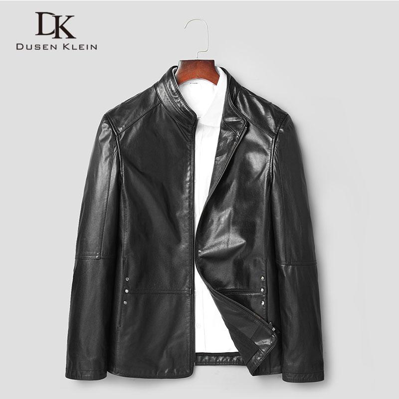 Dusen Klein Men Genuine Leather Jacket Goat skin Coat for 2019 Spring New Designer brand Plus size 5XL 81y8252