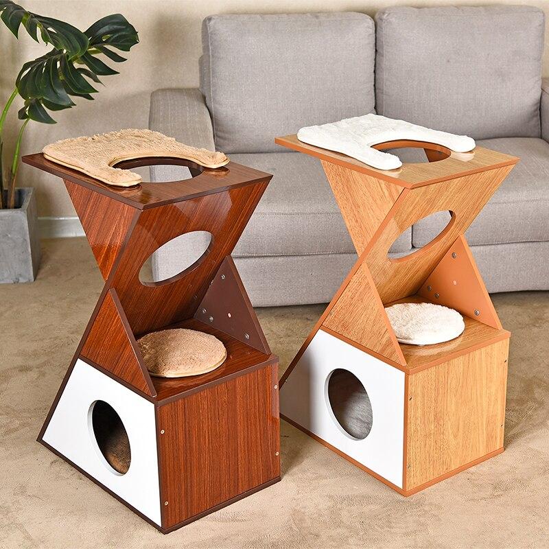 Europe chat meubles boîtes de protection arbre à chat griffoir poste chat Cube maison coussins amovibles animal de compagnie Centre d'activité avec balle