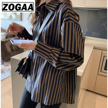 Loose Striped Shirt Woman 2019 Spring New Pattern Restoring Ancient Ways Port Flavor Fashion Long Sleeves Blouse ZOGAA