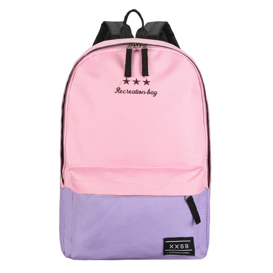 Schoolbag Backpack Female Rucksack School Bags Patchwork Contrast Color Travel Backpack Mochila Escolar Canvas Backpacks