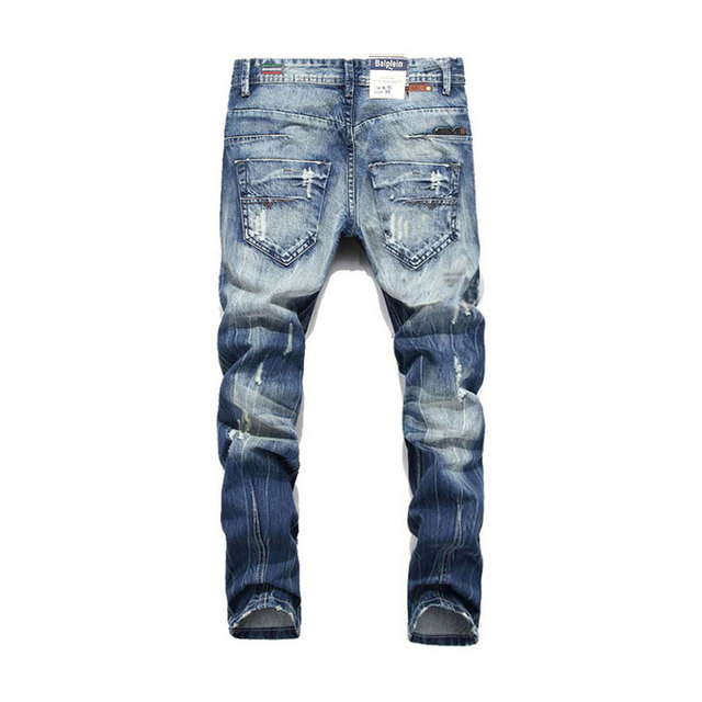 Men Straight Fit Ripped Jeans Italian Designer