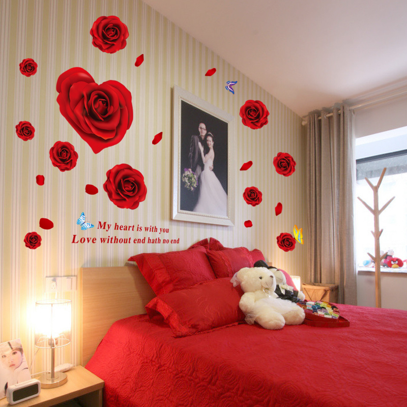 New Creative Red Rose Flowers Bedroom Tv Backdrop Living Room