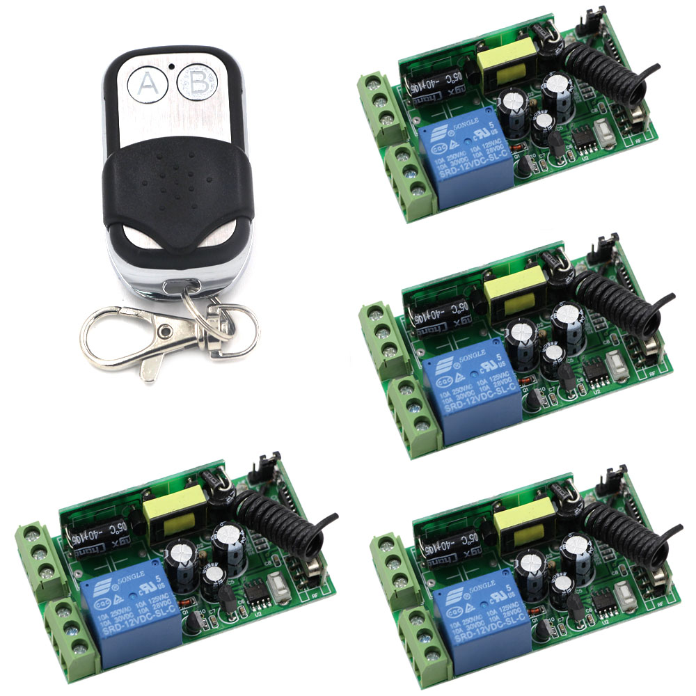 AC 85V 110V 220V 250V 1CH 10A Relay Wireless Remote Control Switch Receiver Transmitter Lamp/Light LED Remote ON OFF System ac 220 v 1 ch wireless remote control switch system 4x transmitter with 2 buttons 1 x receiver light lamp ledon off 315 433mhz