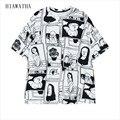 Hiawatha Garabato Camisetas Mujeres La Moda de Harajuku Carácter Impreso Camisetas Más El Tamaño Flojo Ocasional Tops Comic O-cuello Tees T3051