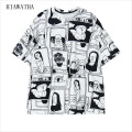 Hiawatha Scrawl T-shirts Women Fashion Harajuku Character Printed T Shirts Plus Size Casual Loose Tops Comic O-neck Tees T3051