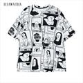 Hiawatha Scrawl T-shirts Women Fashion Harajuku Character Printed T Shirts Plus Size Casual Loose Tops Comic O-neck Tees T3051