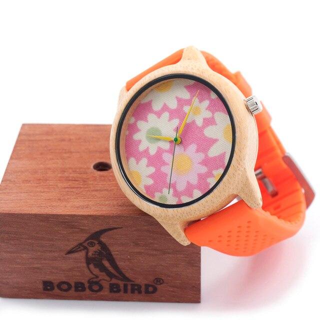 Zegarek damski drewniany BOBOBIRD Orange Flower