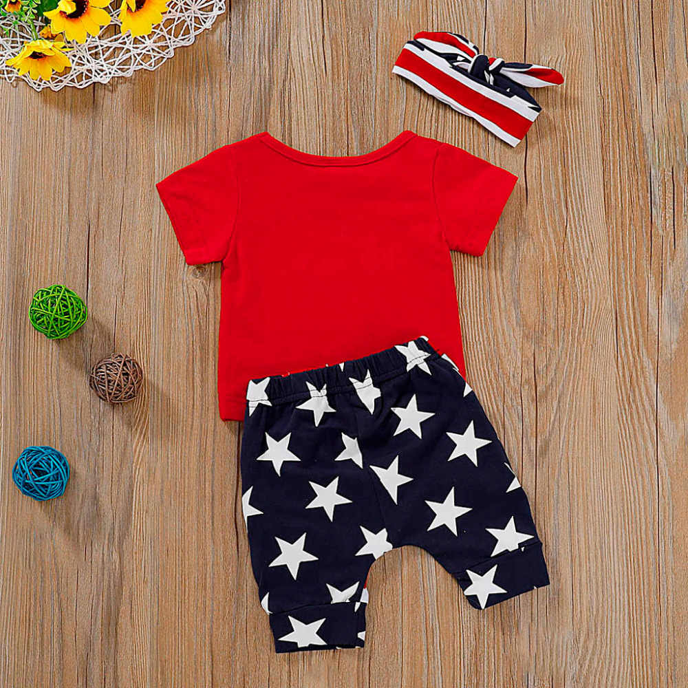 0ae996470 ... 4th of July US Flag Independence Day Stars and Stripe Patriotic Shirt  Shorts Set Outfit Baby ...