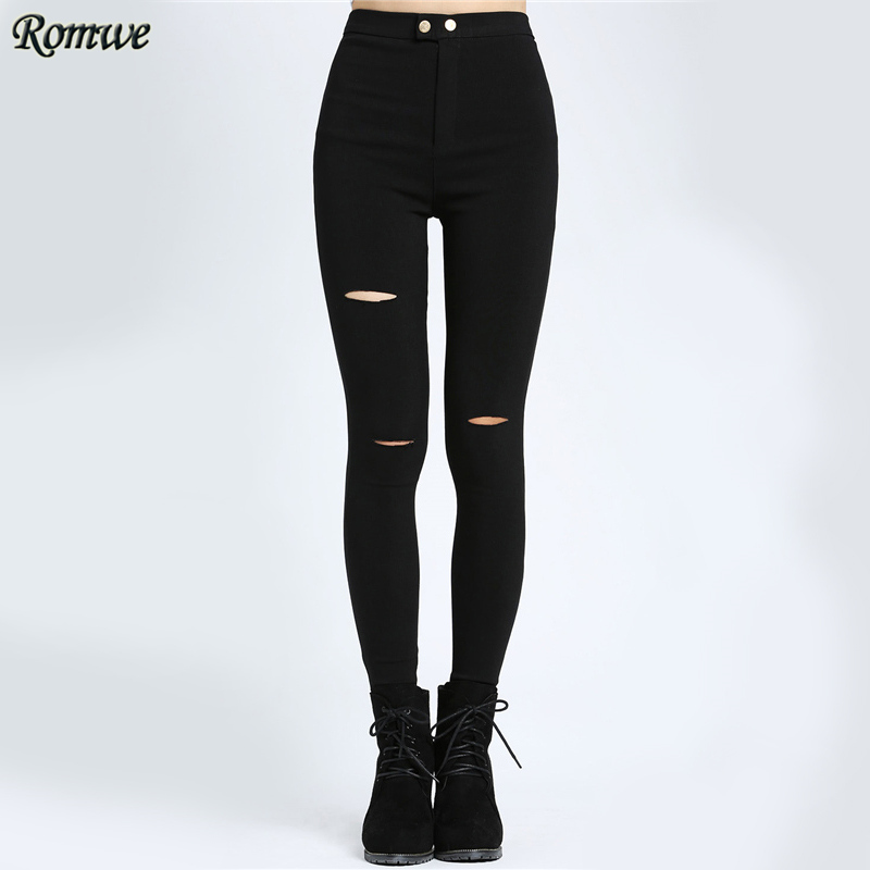 ROMWE Black Cut Out Slim Jeans Women Sexy Elastic Button Long Autumn Denim Pants 2017 Fashion Casual Ripped Skinny Jeans  2017solid black fashion women pants autumn rocker punk sexy style leggings street metallic femme casual slim pants