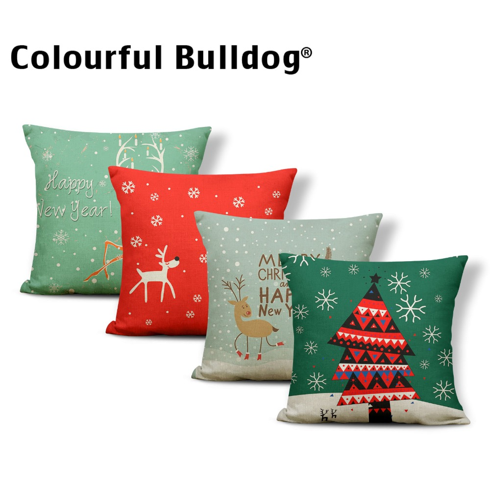 Festival Santa Claus Cushion Merry Christmas Pillow Scandinavian Recliner Gifts For Mom Throw Pillow Case Red 17.7Inch Polyester