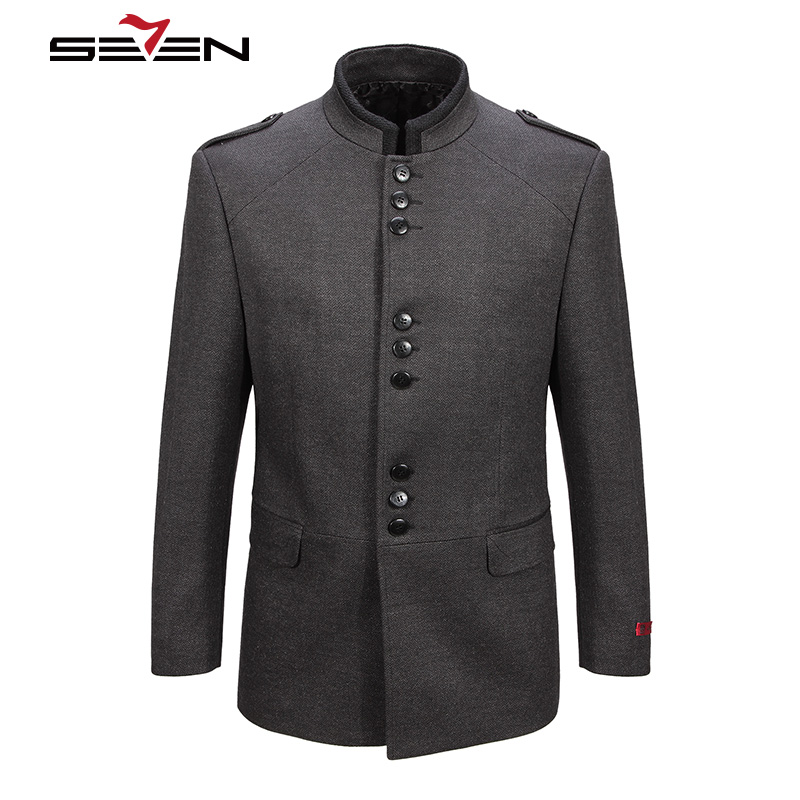 Seven7 2018 New Winter Men Wool Trench Coat Men Long Trench Slim Fit Overcoat High Quality Men Coats Fashion Outerwear 107C11050