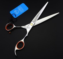 Pet Dog Cat stainless steel Grooming Hair Thinning curved Scissors Shears Silver Barber Shears for dog puppy hair cutting tools