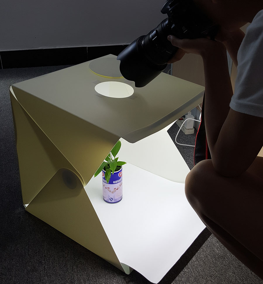 NEW Large (40x40x40cm) Folding Tabletop Studio Diffuse Soft Box with LED Light Black White Background Photo Studio Accessories