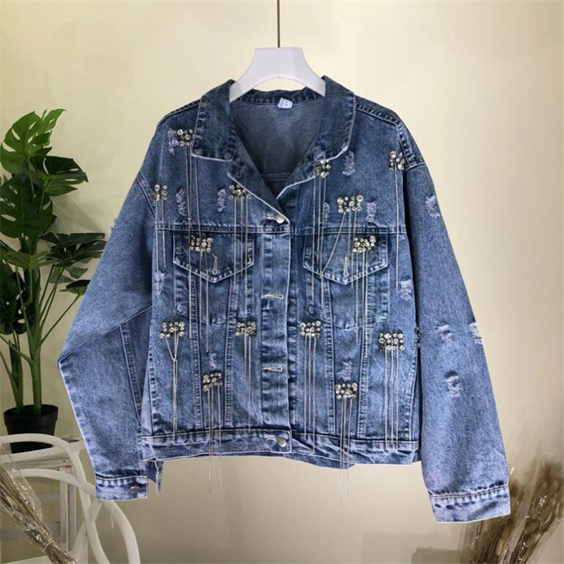 2019 women fashion Heavy beaded tassel chain hole loose denim   jacket   female loose   basic     jacket   r940
