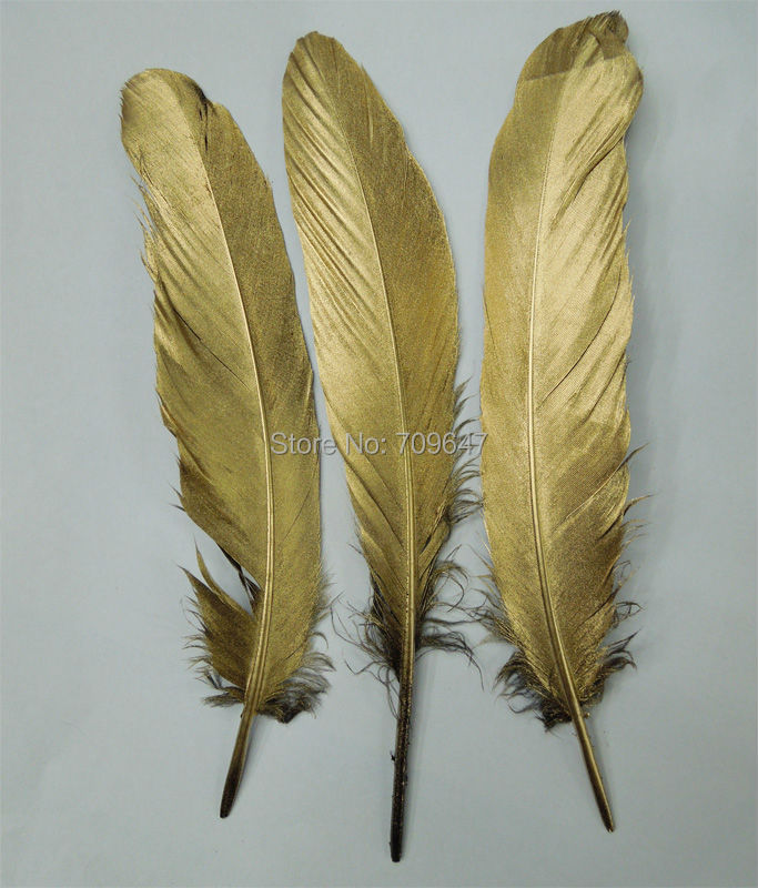 50pcs/lot 13-20cm Beautiful handmade gold feathers,gold painting goose Satinettes feathers for wedding DIY party performance dan