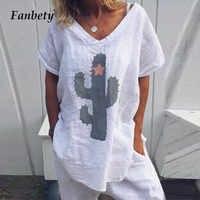 Fanbety Frauen Weiche Baumwolle Leinen Lose Bluse Shirts Elegante Kaktus Druck Sexy V-ausschnitt Blusa 2019 Sommer Kurzarm pullover 5XL