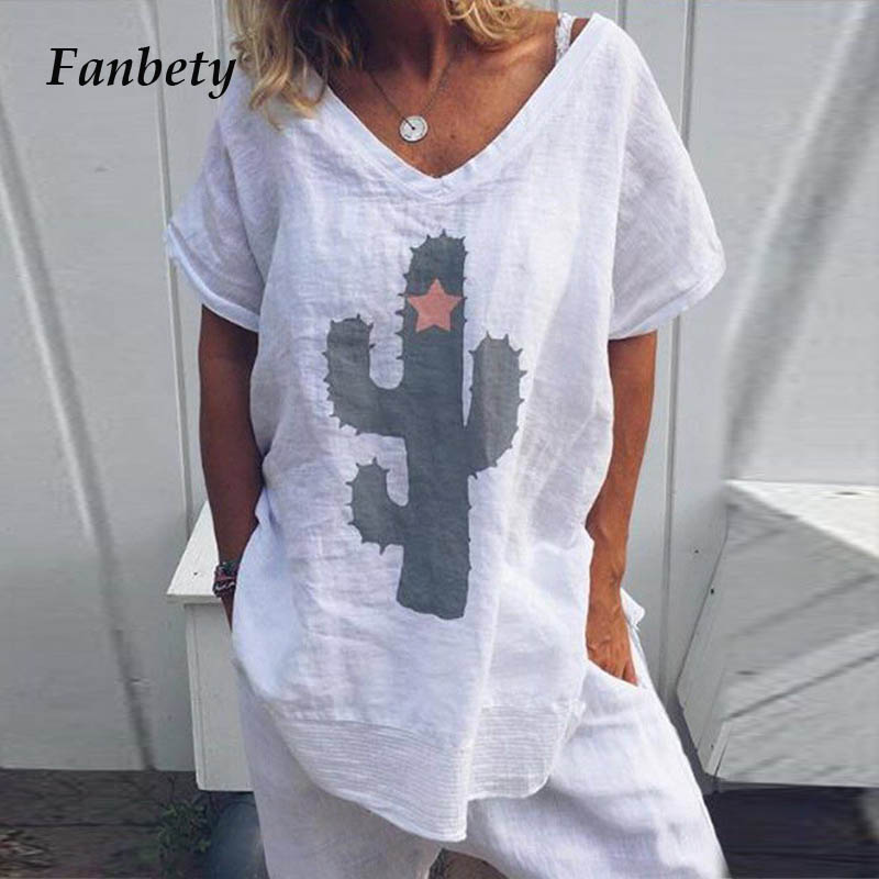 Fanbety Women Soft Cotton Linen Loose Blouse Shirts Elegant Cactus Print Sexy V-neck Blusa 2019 Summer Short Sleeve Pullover 5XL