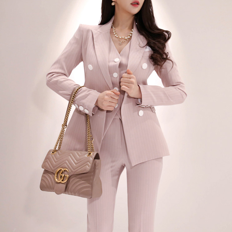 New Arrival Women Professional Temperament Fashion Solid Suit Long Pant Comfortable 3 Pieces Work Style Pant Suits Gift A Jacket