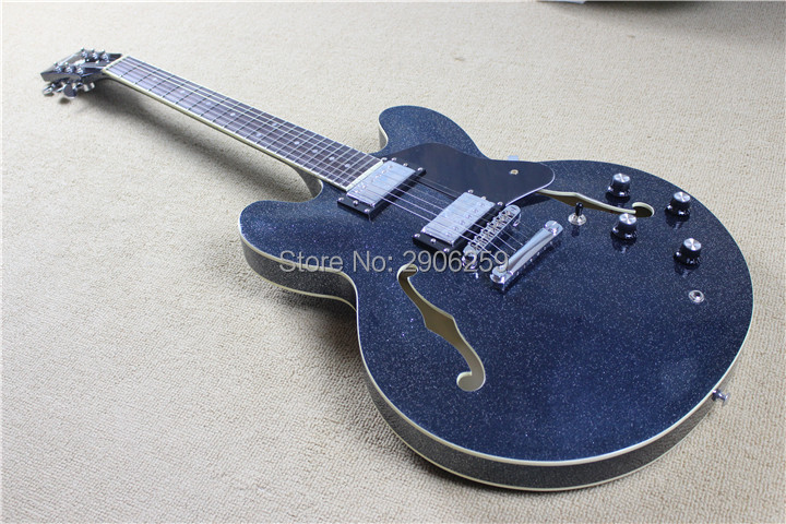 New arrival es 335 semi hollow electric guitar,popular star shine sky blue color,hot sale 335 guitar,zakk knobs free shipping цена