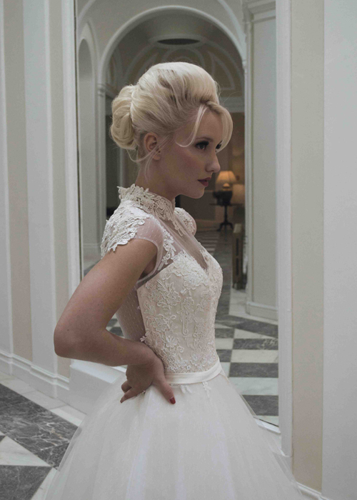 Sophisticated Mandarin Collar Princess Long White Lace Appliques Tulle  Wedding Dresses 2014 Sheer illusion Back Big Train-in Wedding Dresses from  Weddings ... 2bcb9f903754