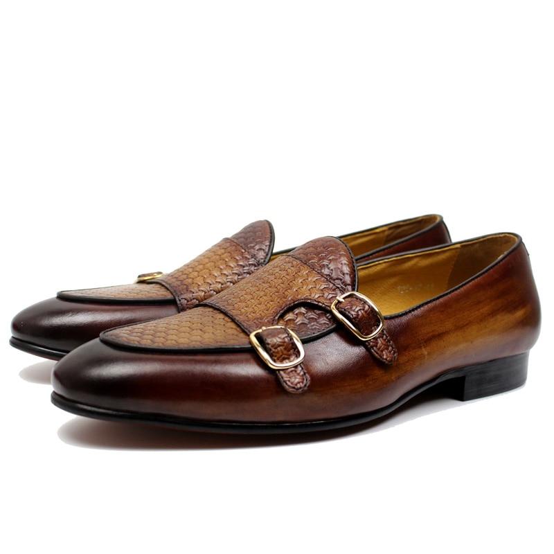 FELIX CHU ฤดูใบไม้ร่วงสไตล์ผู้ชายสีดำสีน้ำตาลหนังแท้มือทาสี Monk Strap ผู้ชายชุดรองเท้า party-ใน รองเท้าทางการ จาก รองเท้า บน   2