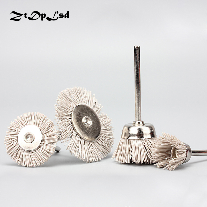 ZtDpLsd 3Pcs/set 3mm Shank Mini-polished Flower Head Nylon Abrasive Wire Wood Carving Polishing Brush Grinding Tools Deburring