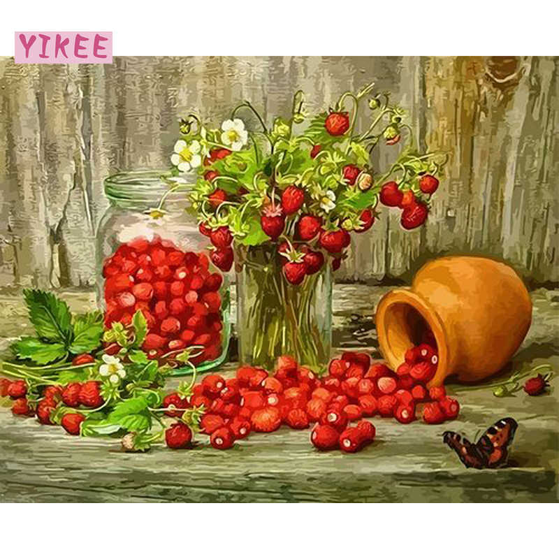 diy oil painting wall artwork for home decor,diy paintings by numbers,still life strawberry,fruit painting coloring by numbers