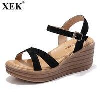 XEK 2018 Summer New Fashion Thick soled Sandals Women Suede Sandals Flats High heeled Shoes Wedges Roman Sandals Women JH258