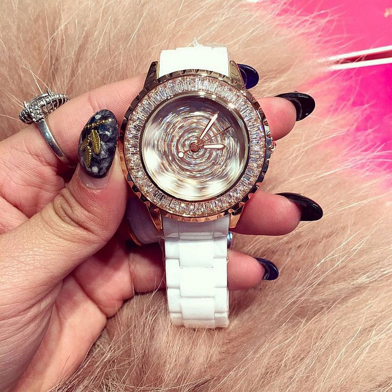 Top Luxury Austrian Crystal Ladies Quartz Ceramic Watches Fashion Rose Gold Rotatable Womens Dress Watch relojes mujer 2017