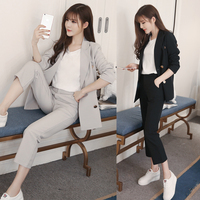 Women brown black Blazer Suit Set Two Piece Trousers + Blazers 2PC Female Sets Pants Autumn winter Women's two piece set