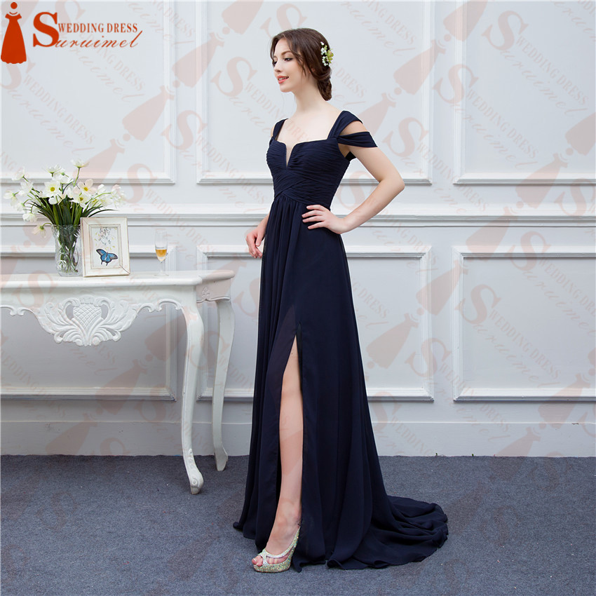 Echt fotos Dark Navy Blau Lange Billig Brautjungfer Kleid 2018 Front ...