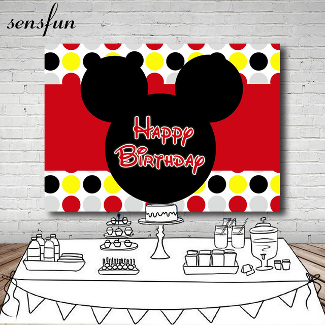 Sensfun Mickey Photography Backdrop Red Yellow Black Silver Polka Dots Boys Girls Happy Birthday Party Backgrounds 7x5FT