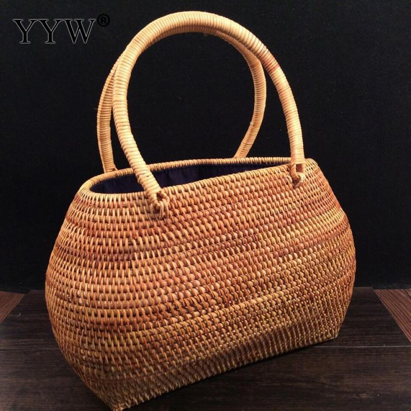 Straw Weaving Beach Bag Top-handle Bags for Women 2018 Women's Handbags Bohemian Female Shoulder Bags Designer Shopping Bag stylish metallic and weaving design shoulder bag for women
