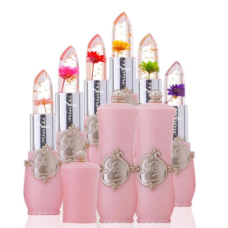 Minfei Марка помада с цветком прозрачный цвет желе изменение Lip stick долговечный с 6 видов цветов цветы помады