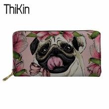 Купить с кэшбэком Thikin Women Wallets for Credit Card Ladies Pug Dog Print Long Money Bag Females Kawaii Puppy Cute Coin Pocket Girls Card Holder