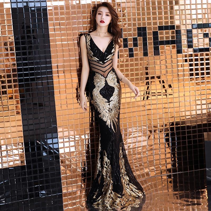 weiyin Double-V Embroidery Mermaid   Evening     Dress   Prom Gowns Formal Party   Dress   Vestido de Festa Elegant Luxury Robe Longue WY723