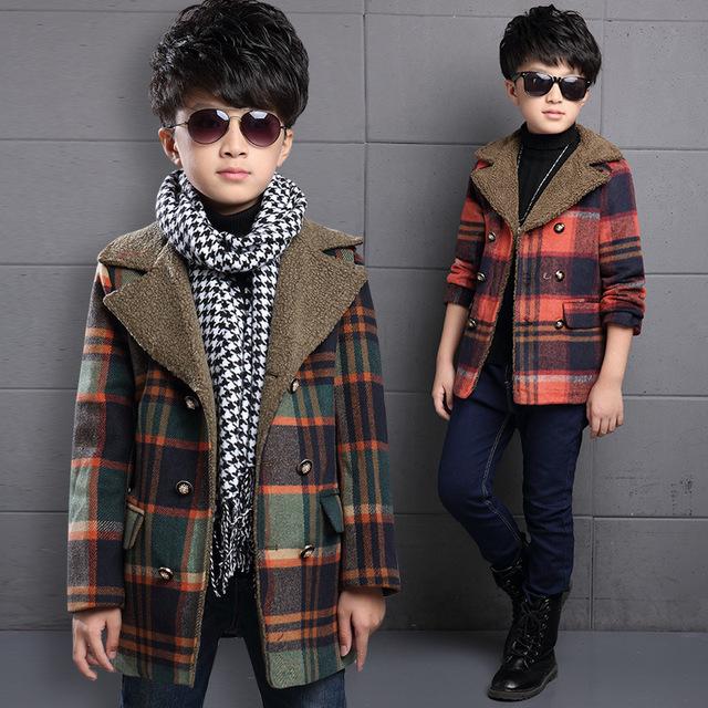 Niños Ropa de Niños Ropa de Invierno Nueva Moda Coreana Capa Gruesa Ropa Caliente de Los Cabritos de Lana A Cuadros Rojo de Algodón Verde