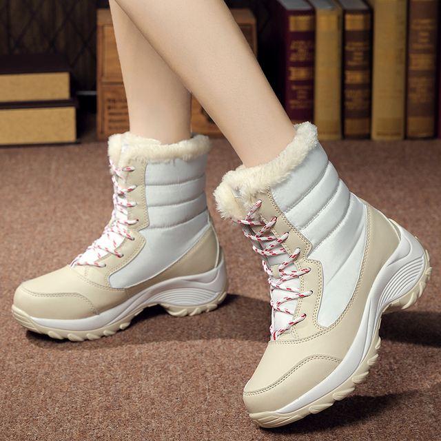 GOXPACER New Snow Boots Plush High Cut Shoes Women Patchwork Anti-slippery Warm Boots Fashion Winter Round Toe All Match Lacing